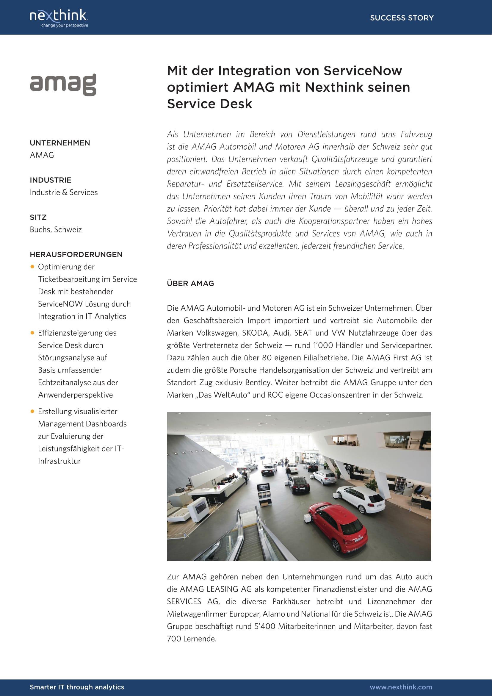 AMAG: Mit der Integration von ServiceNow optimiert AMAG mit Nexthink seinen Service Desk