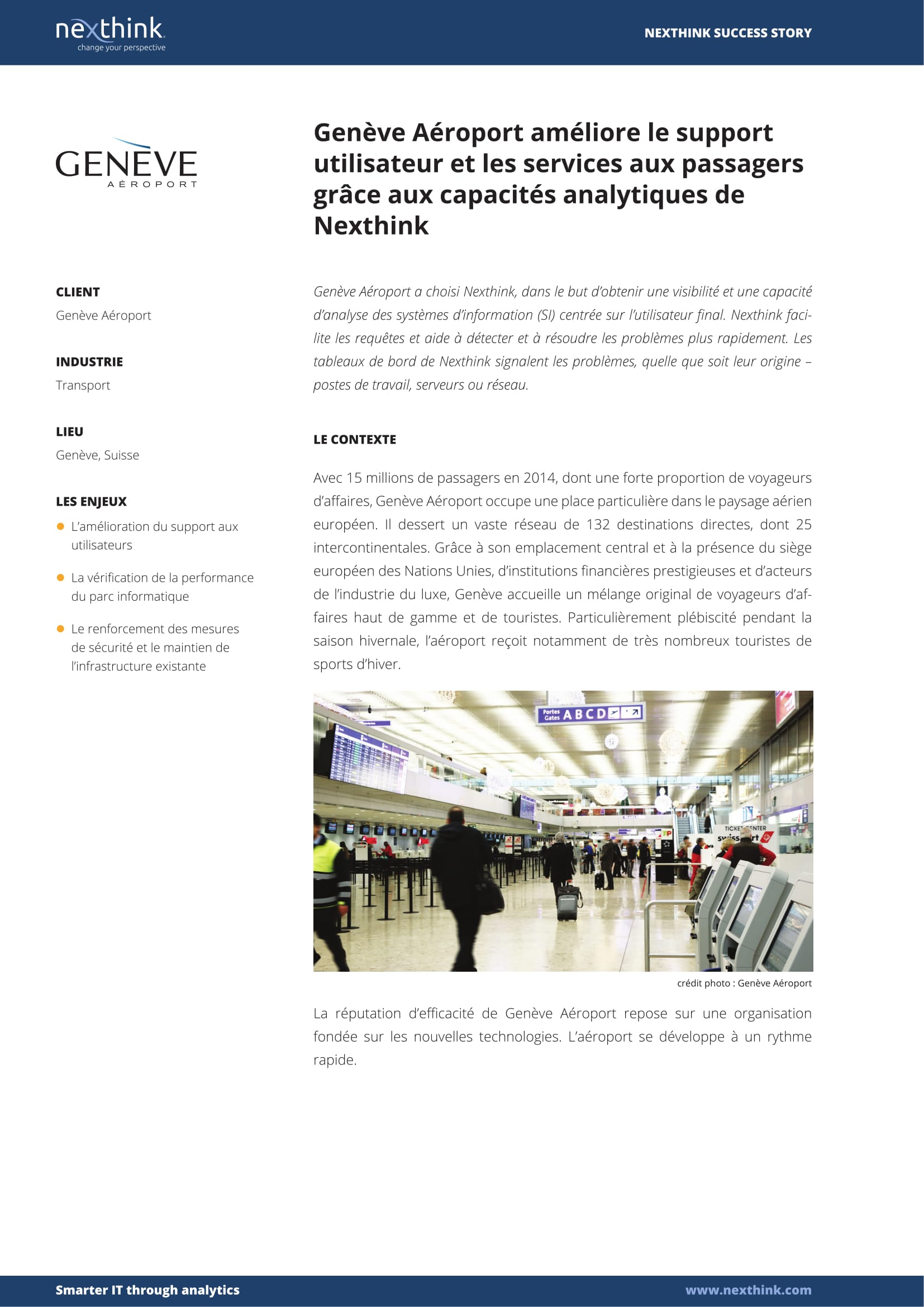 Genève Aéroport améliore le support utilisateur et les services aux passagers grâce aux capacités analytiques de Nexthink