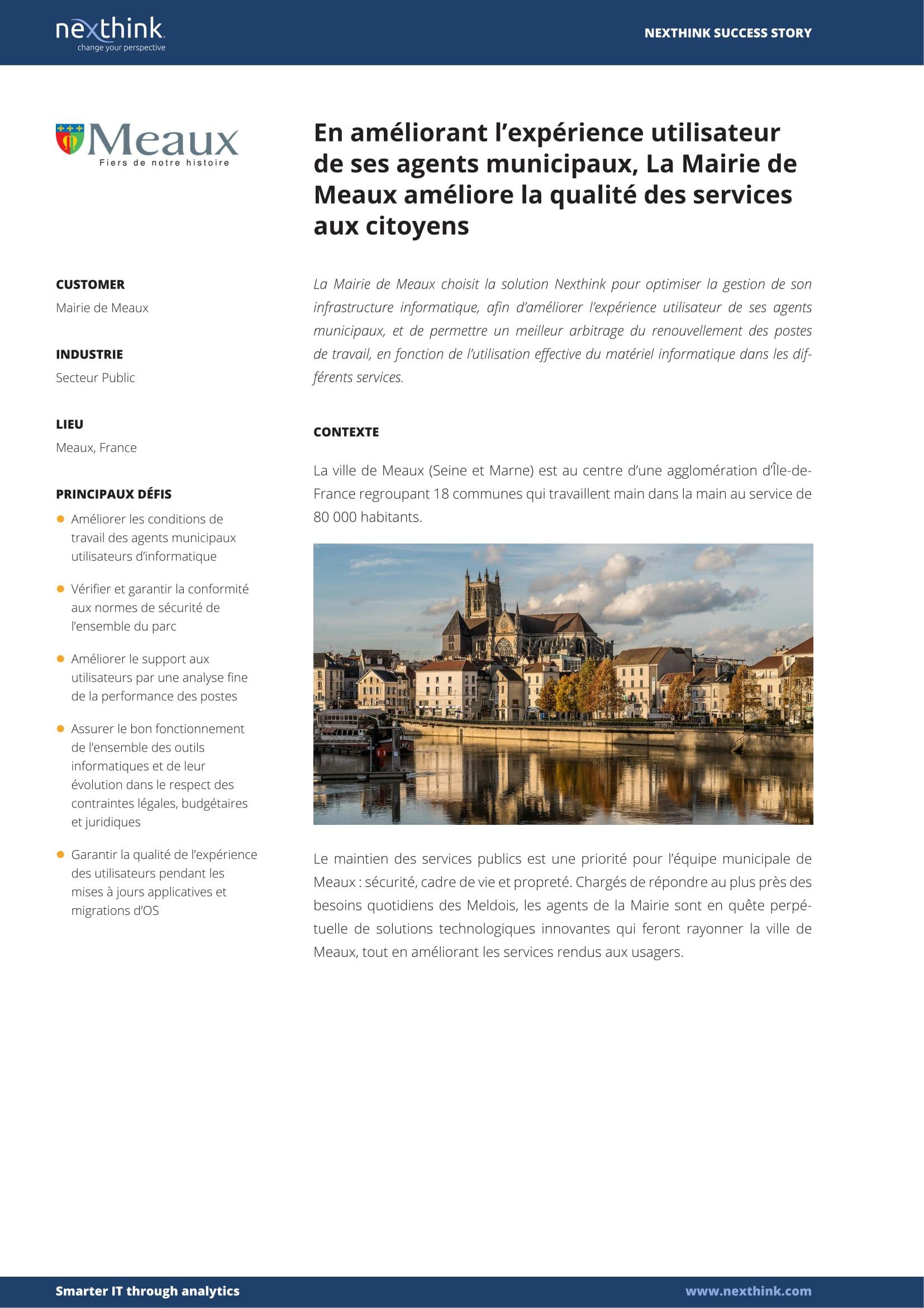 En améliorant l'expérience utilisateur de ses agents municipaux, La Mairie de Meaux améliore la qualité des services aux citoyens
