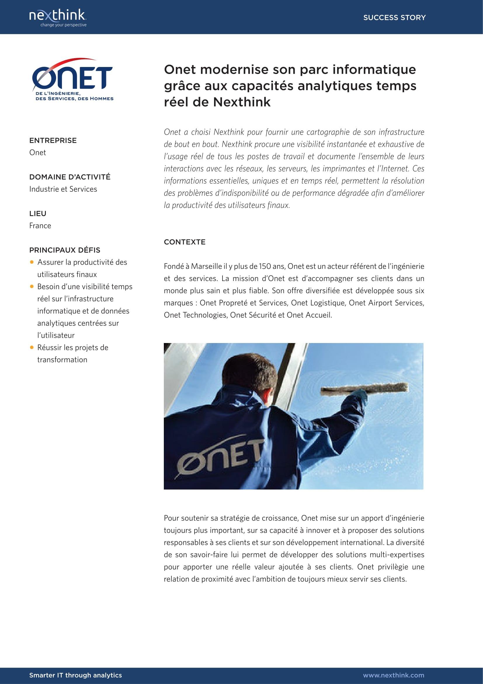 Onet modernise son parc informatique grâce aux capacités analytiques en temps réel de Nexthink