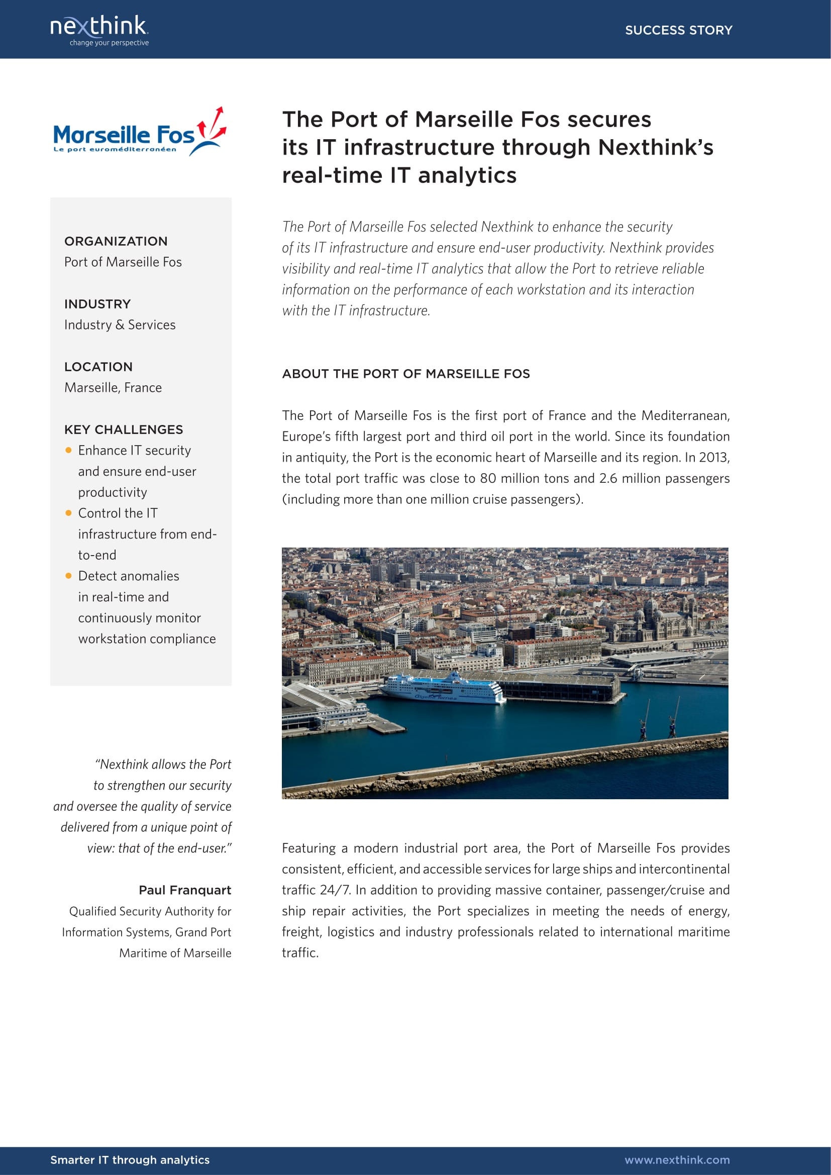 The Port of Marseille Fos secures its IT infrastructure through Nexthink's real-time IT analytics