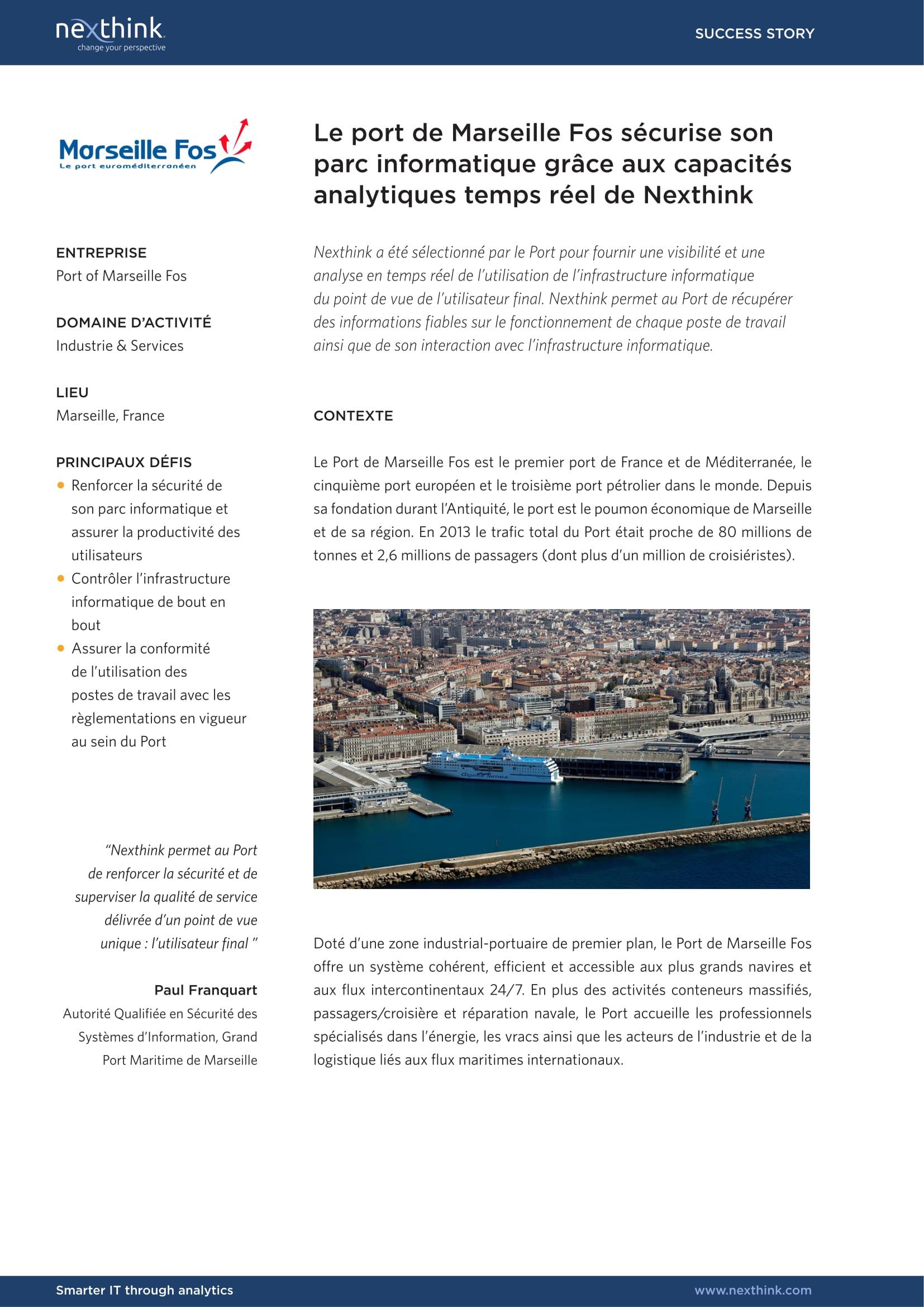 Le port de Marseille Fos sécurise son parc informatique grâce aux capacités analytiques en temps réel de Nexthink