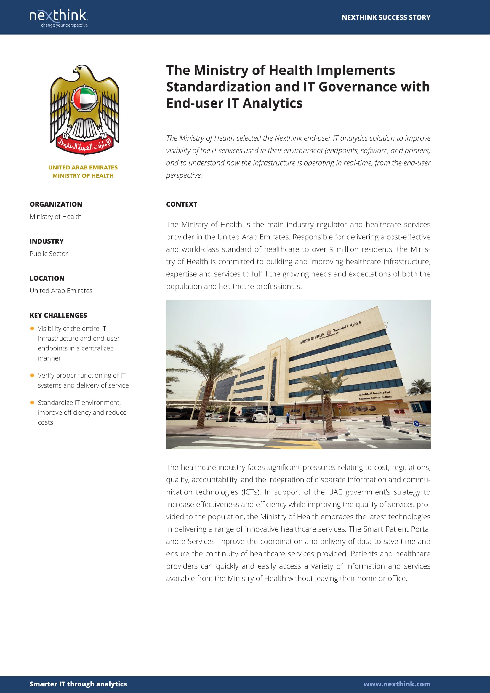 The Ministry of Health Implements Standardization and IT Governance with End-user IT Analytics