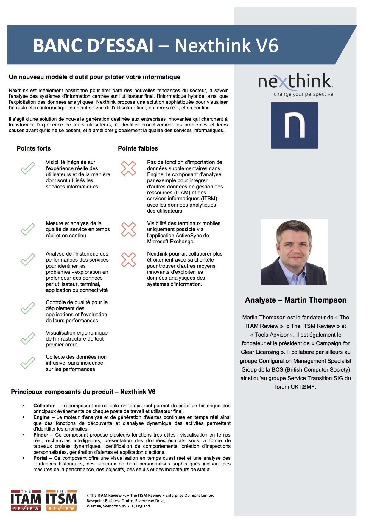 Banc d'essai : Nexthink V6