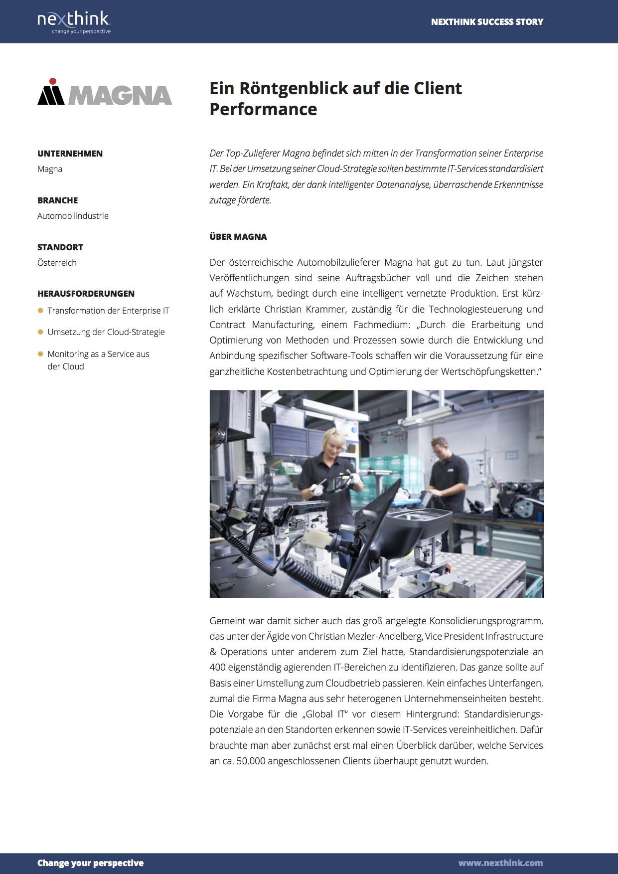 Magna: Ein Röntgenblick auf die Client Performance