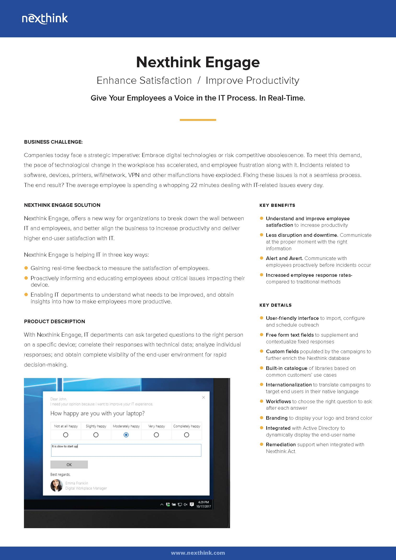 Nexthink Engage Fact Sheet