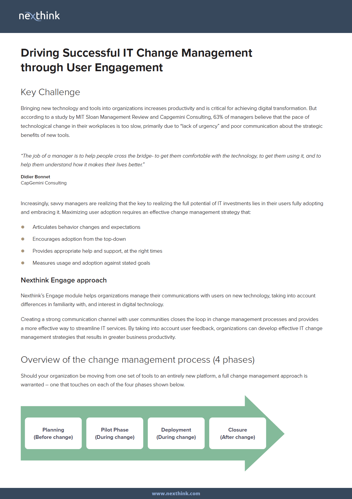 Driving Successful IT Change Management through User Engagement