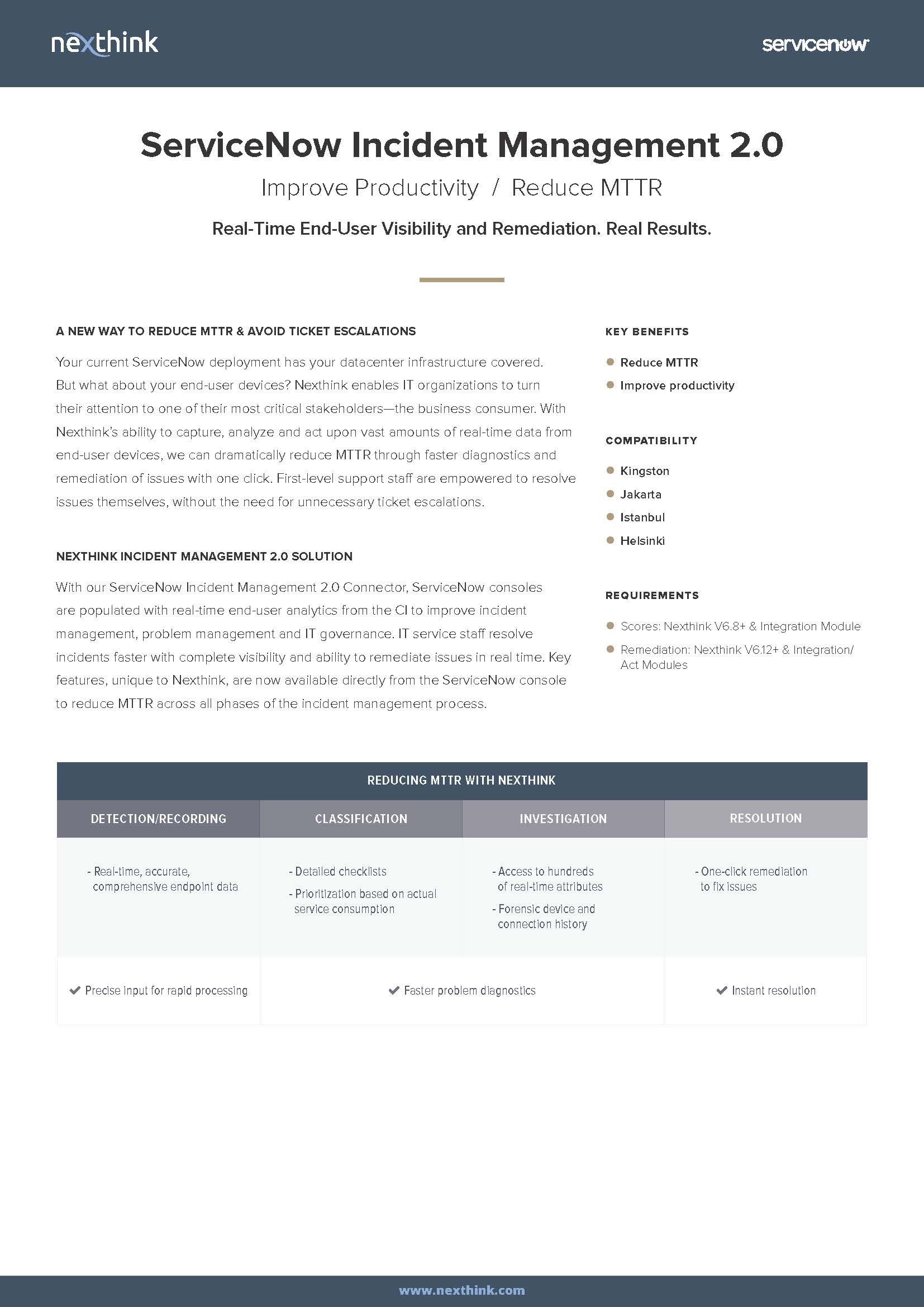 ServiceNow Incident Management 2.0 Fact Sheet