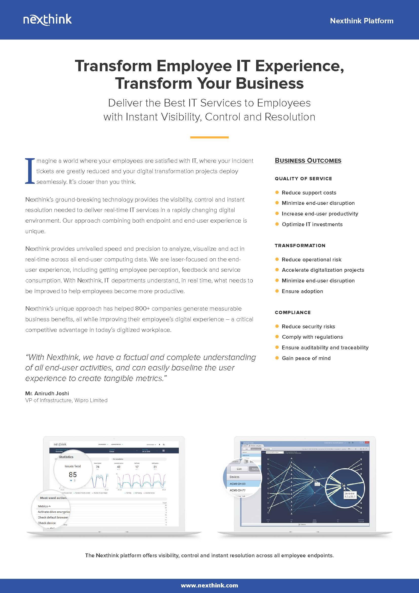 Nexthink Platform Fact Sheet