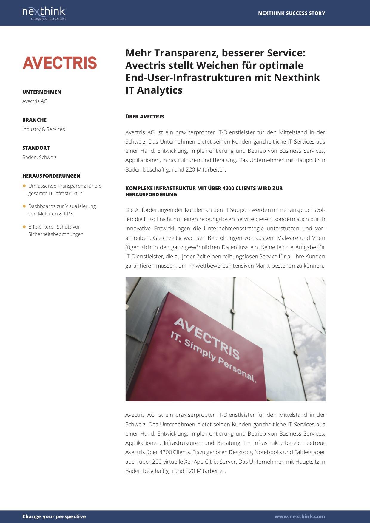Avectris stellt Weichen für optimale End-User-Infrastrukturen mit Nexthink IT Analytics