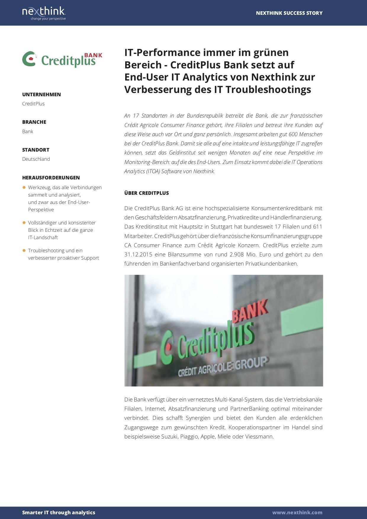 CreditPlus Bank setzt auf End-User IT Analytics von Nexthink zur Verbesserung des IT Troubleshootings