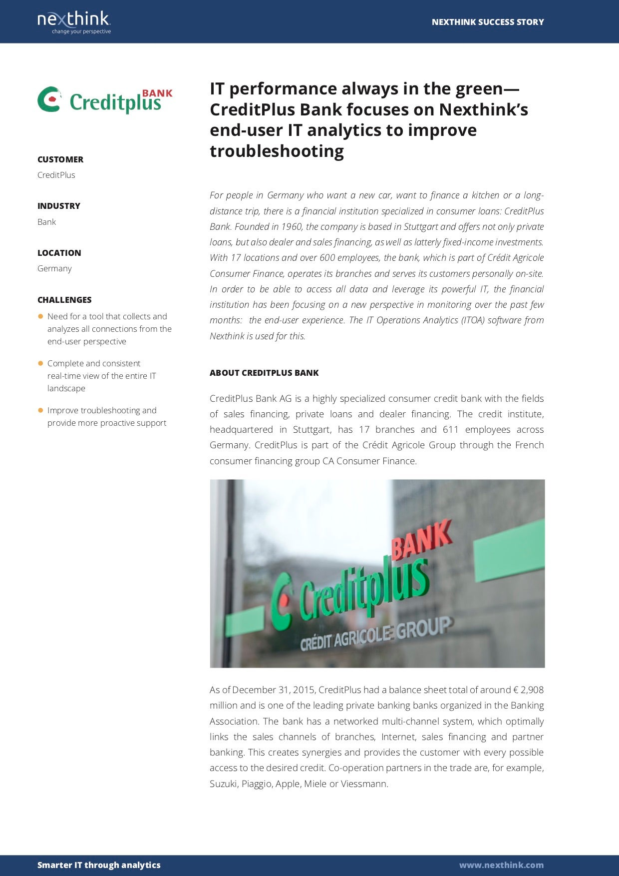 CreditPlus Bank focuses on Nexthink's end-user IT analytics to improve troubleshooting