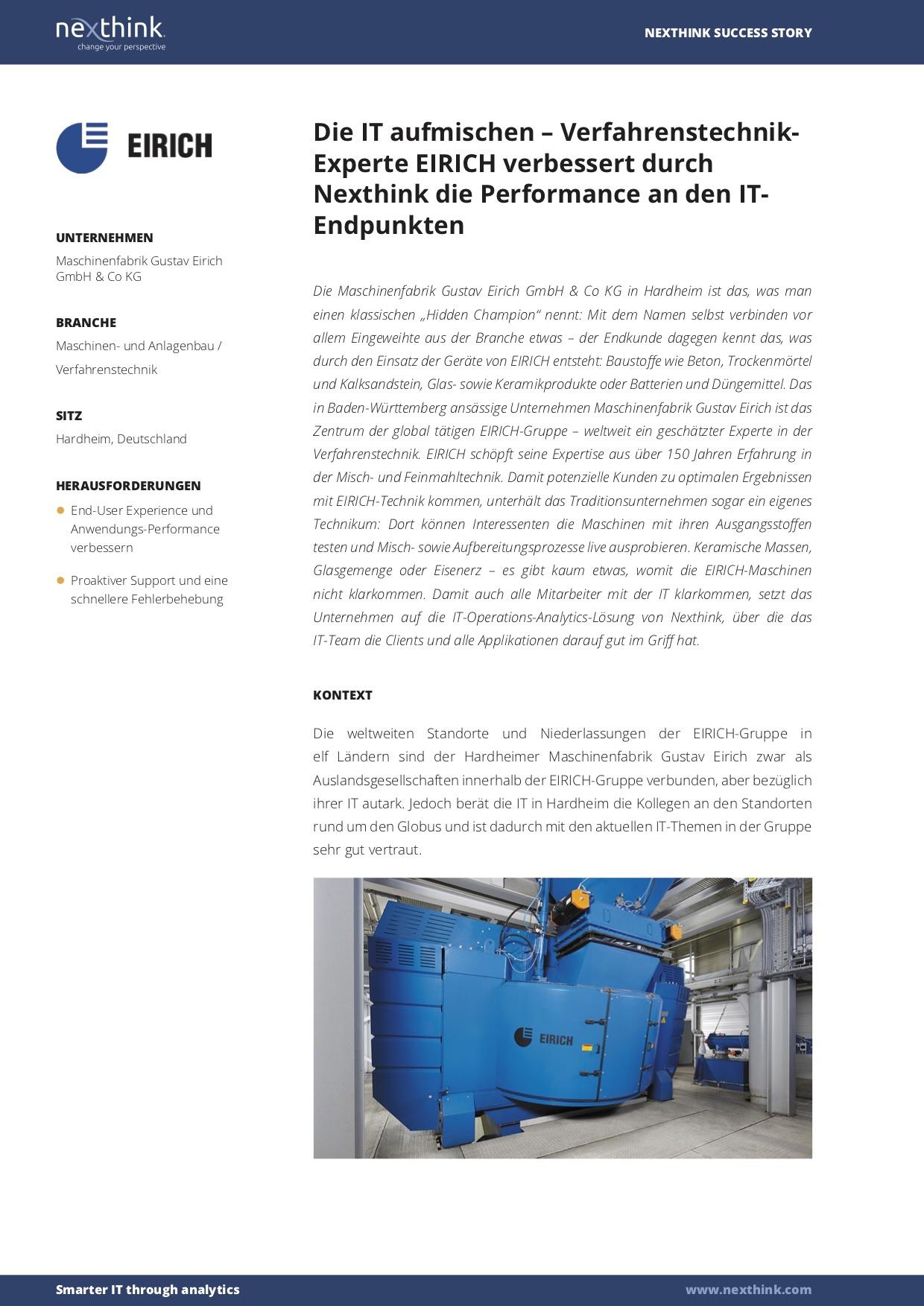 EIRICH verbessert durch Nexthink die Performance an den IT- Endpunkten