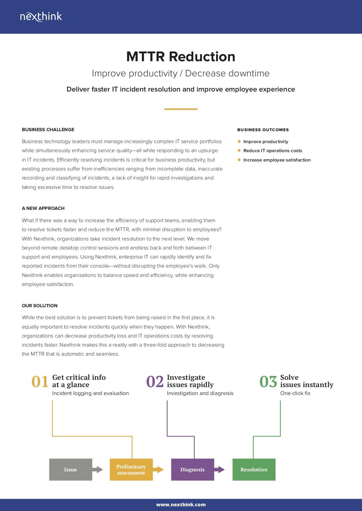MTTR Reduction Solution Brief