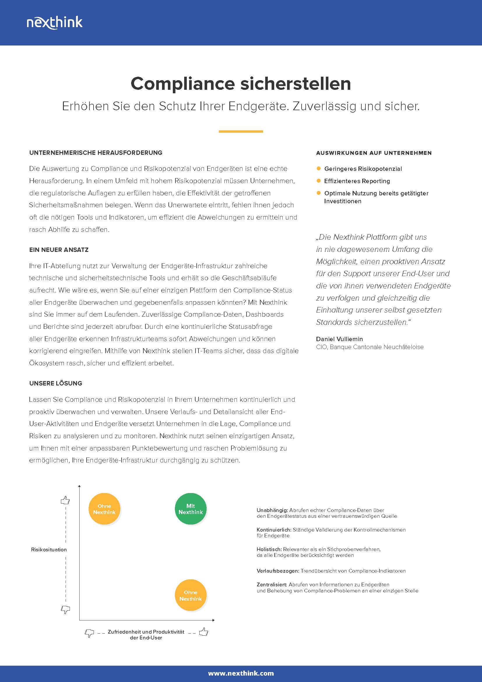 Nexthink Lösung: Compliance sicherstellen