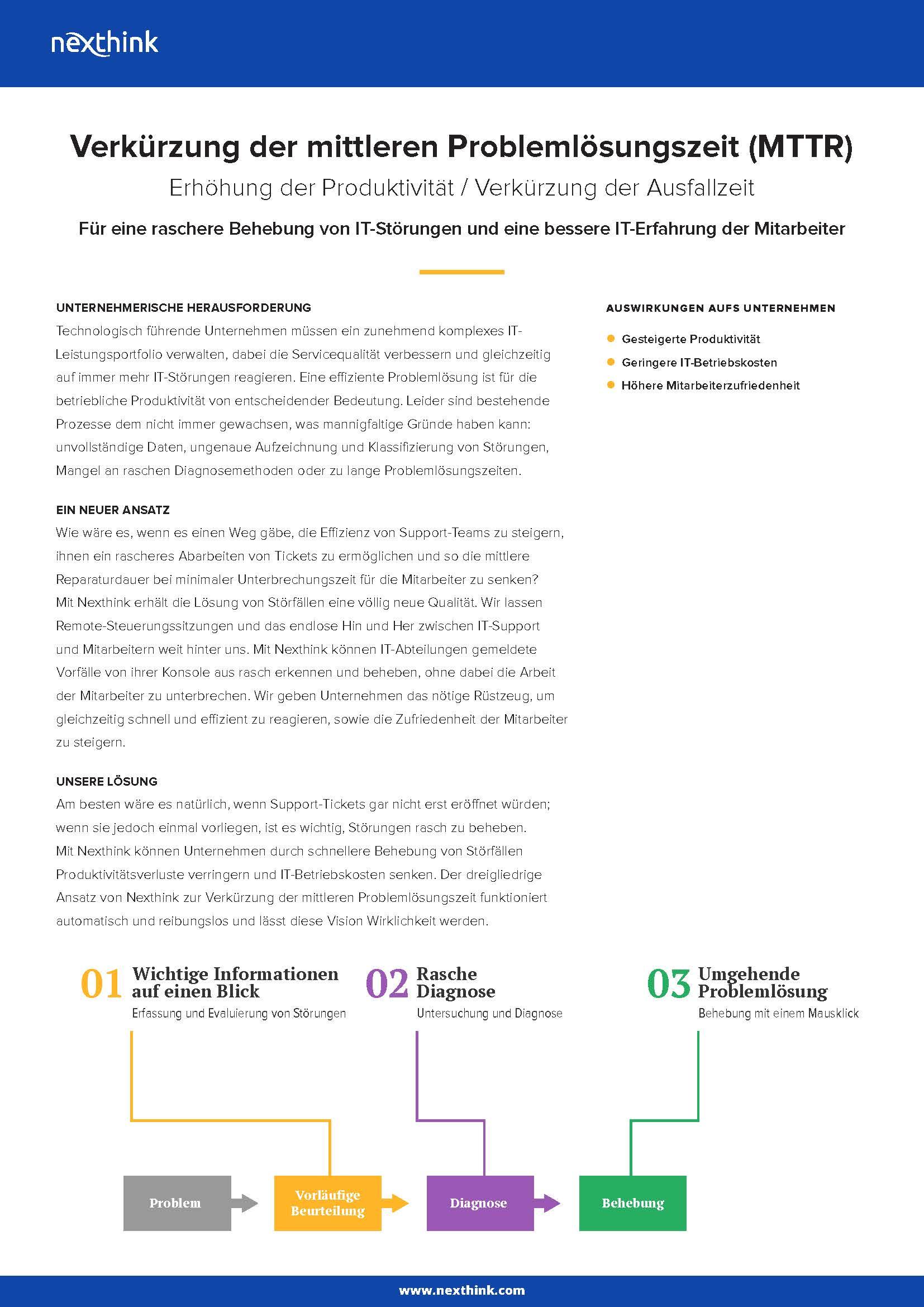 Nexthink Lösung: Verkürzung der mittleren Problemlösungszeit (MTTR)
