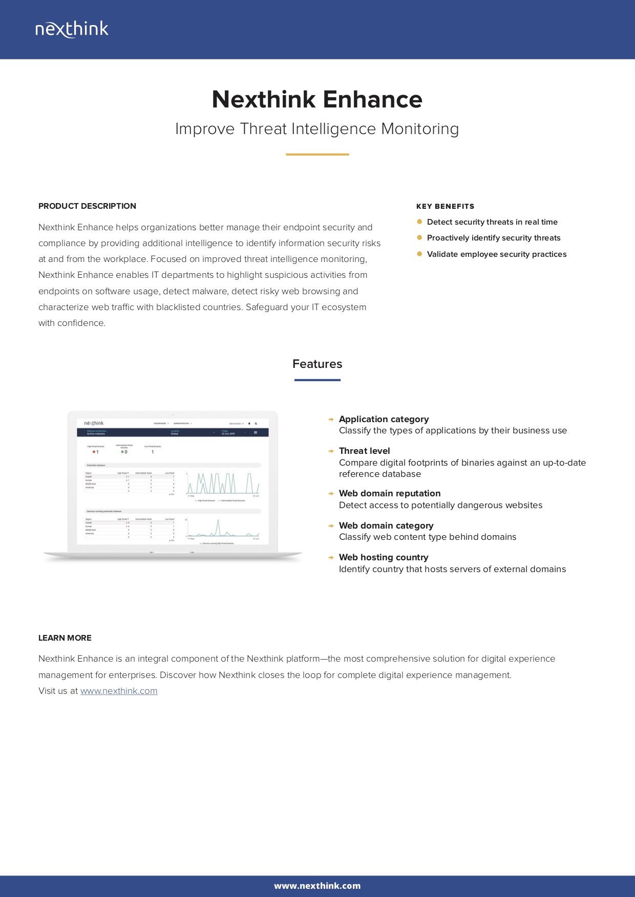 Nexthink Enhance Fact Sheet