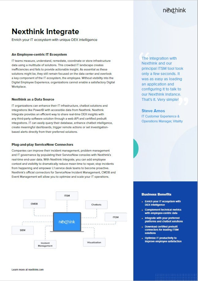 Nexthink Integrate Fact Sheet