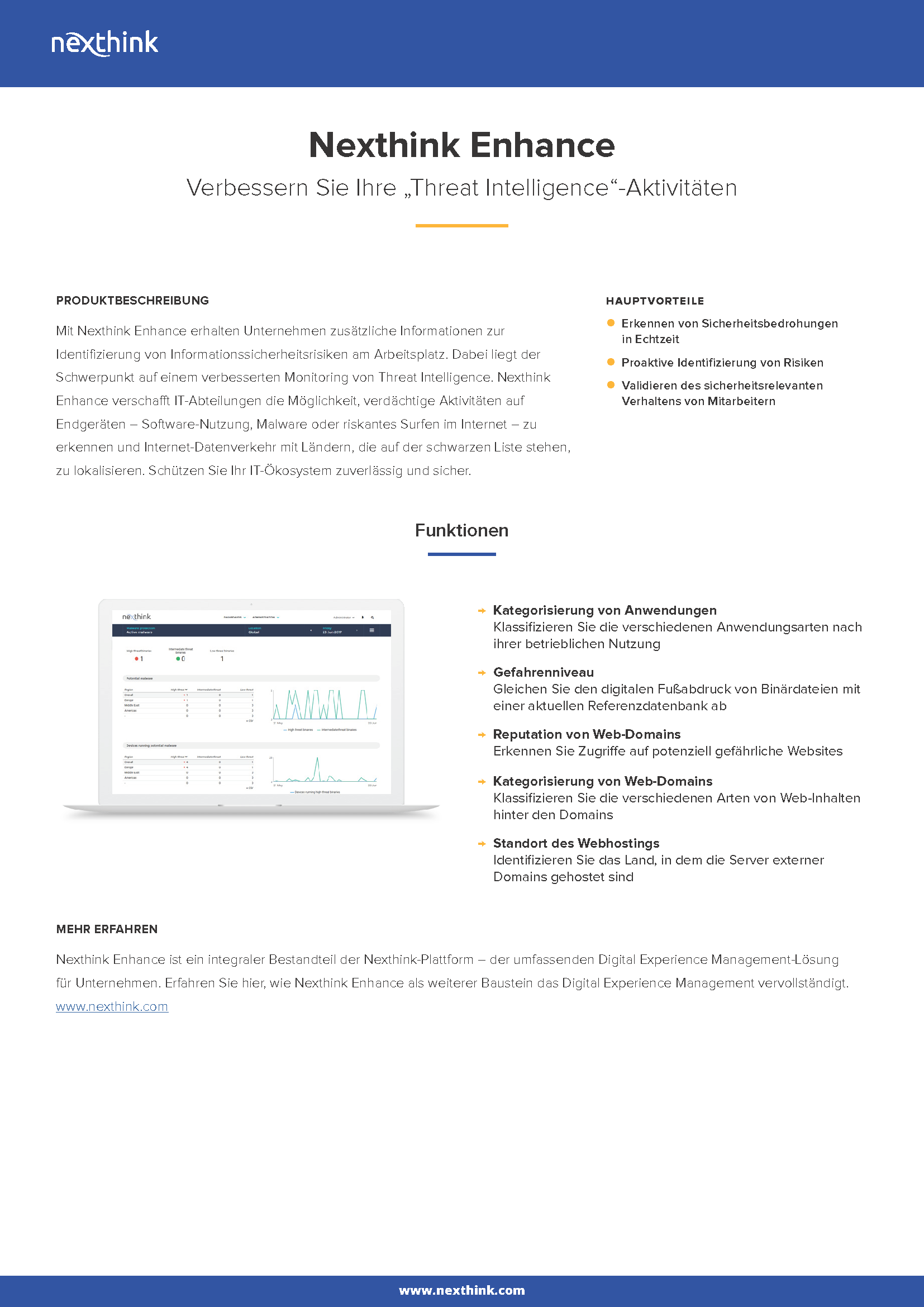 Nexthink Enhance Factsheet