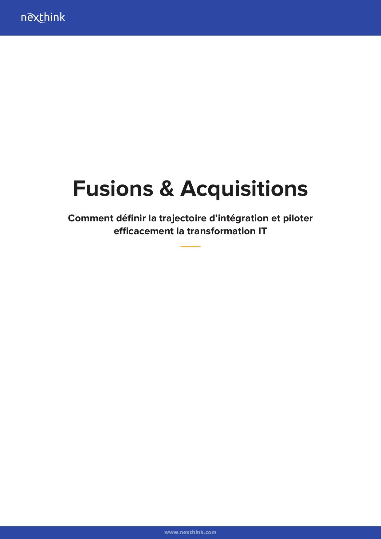 Fusions & Acquisitions :  Comment définir la trajectoire d'intégration et piloter efficacement la transformation IT
