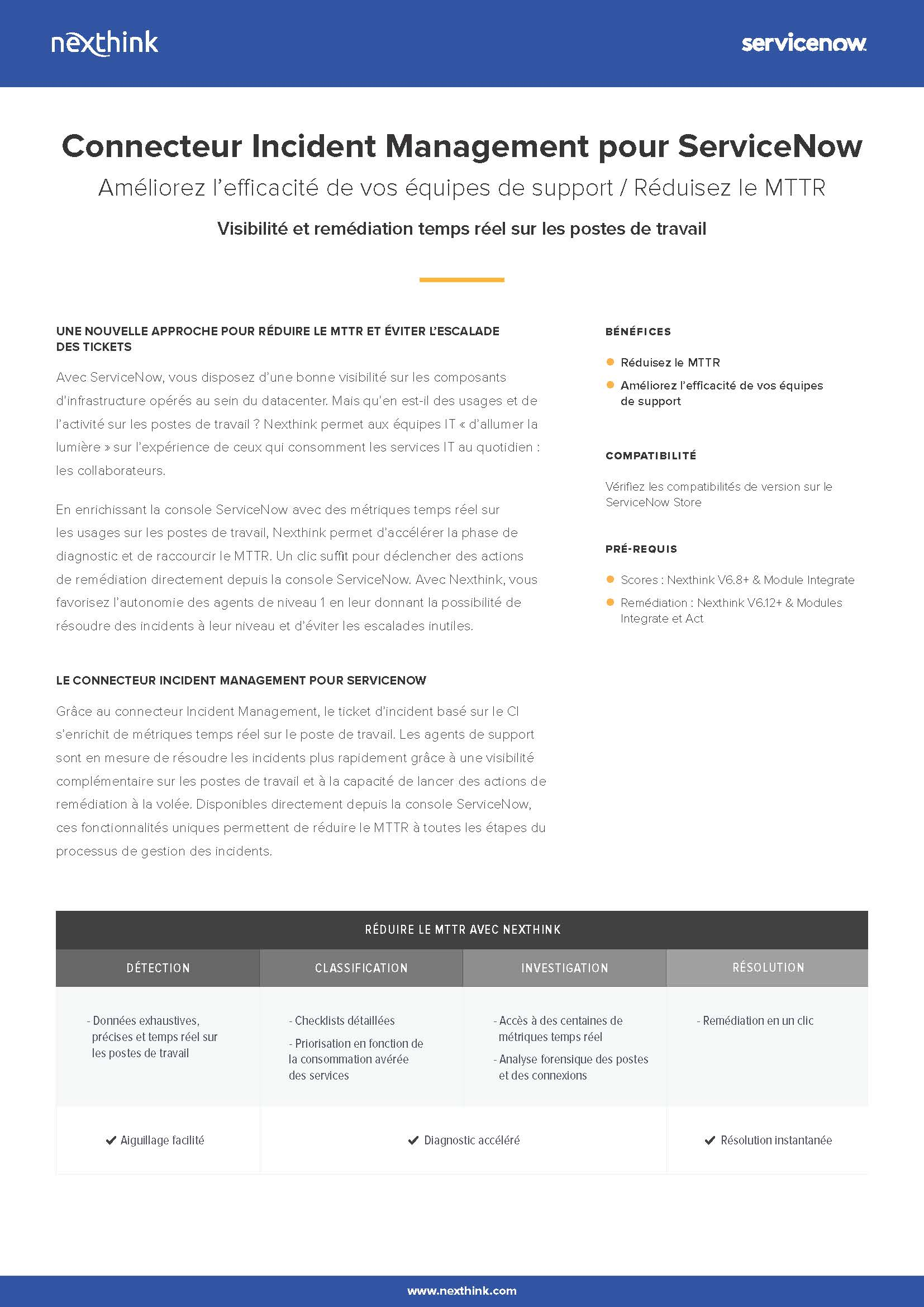 Connecteur Incident Management pour ServiceNow