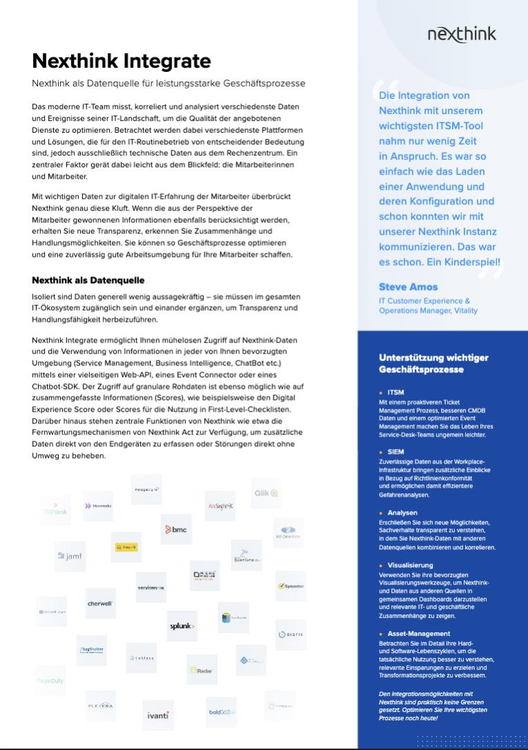 Nexthink Integrate Solution Brief