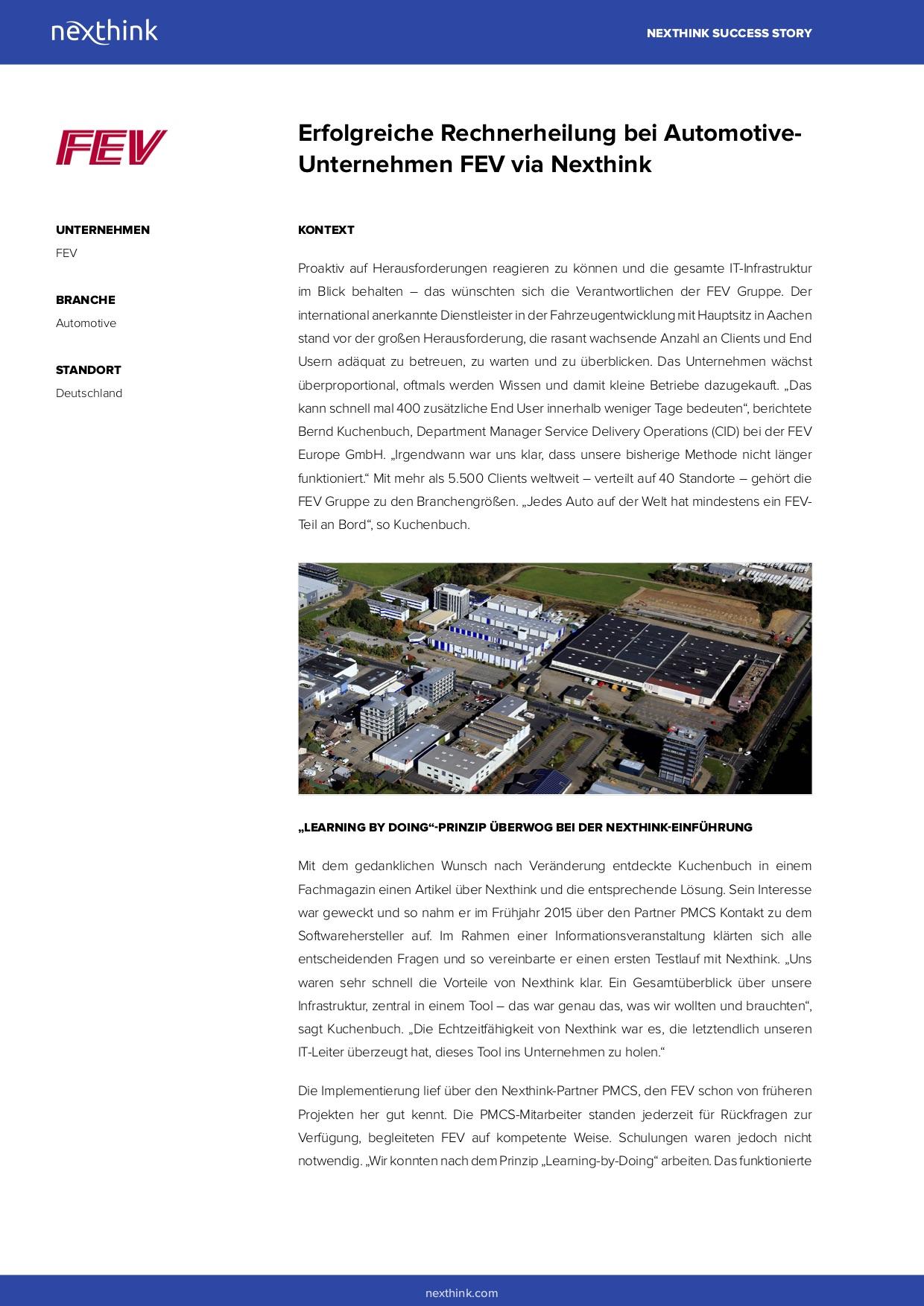 Erfolgreiche Rechnerheilung bei Automotive-Unternehmen FEV via Nexthink