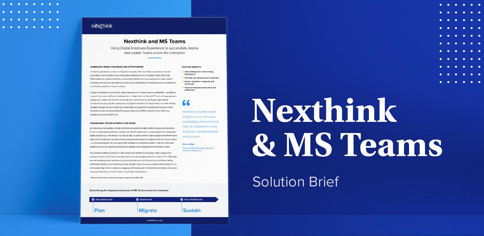 Nexthink   Microsoft Teams Solution Brief