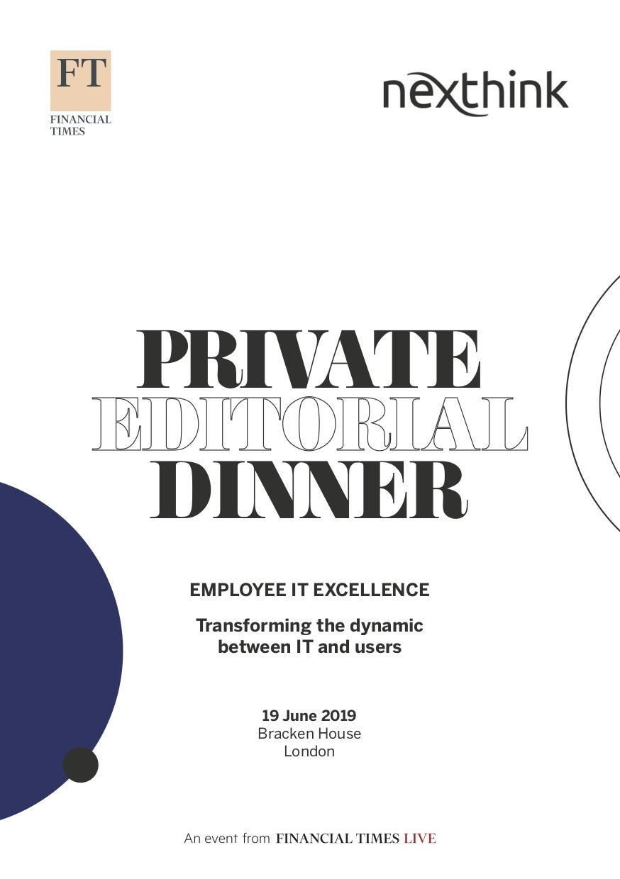 Financial Times Executive Dinner, Summary Report