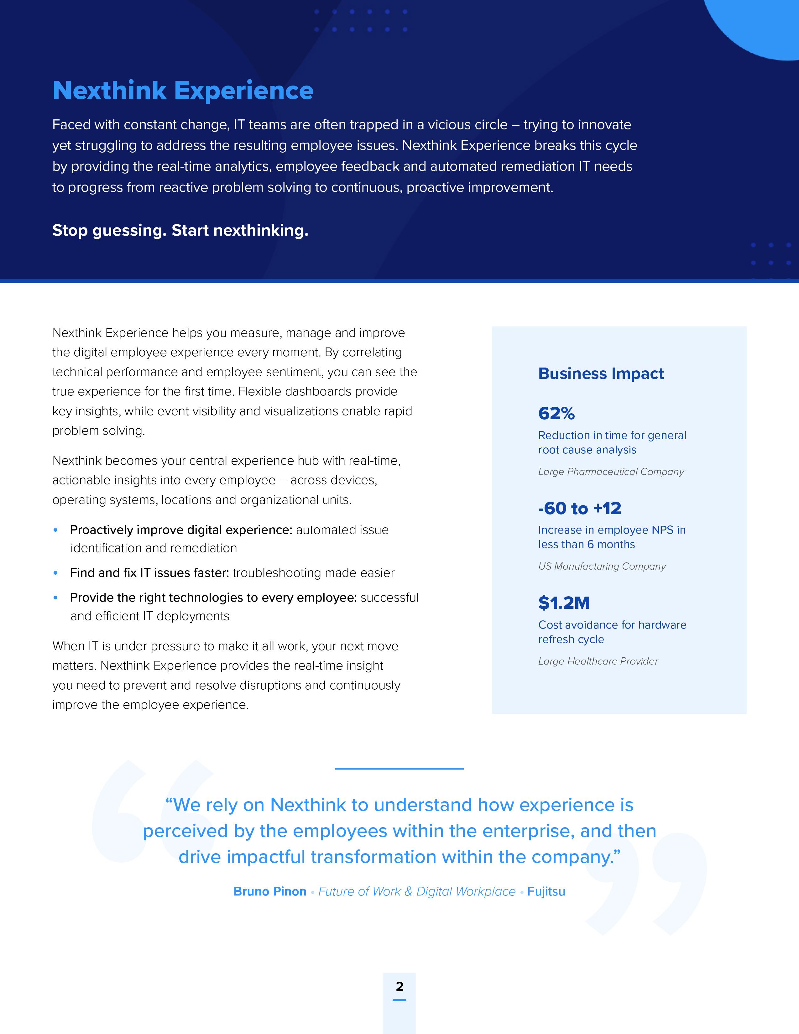 Nexthink Experience Platform Overview