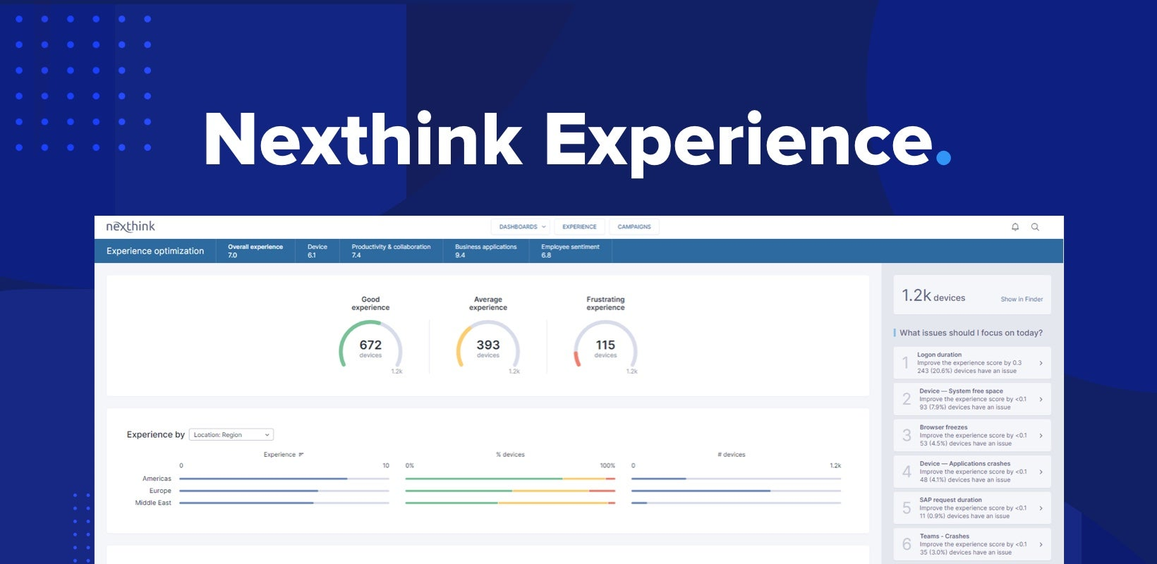Nexthink Launches Experience Platform to Empower IT Teams to Shift from Reactive Problem Solving to Proactive Optimization