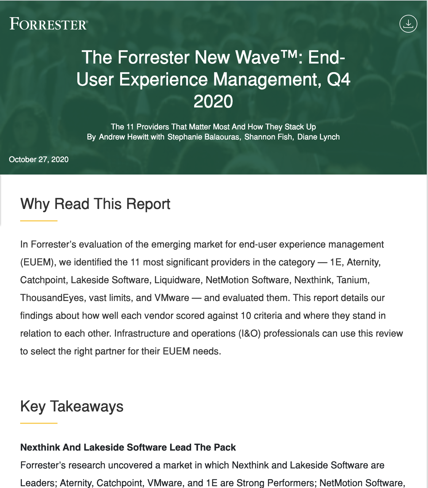 Nexthink a Leader in Forrester's New Wave Report