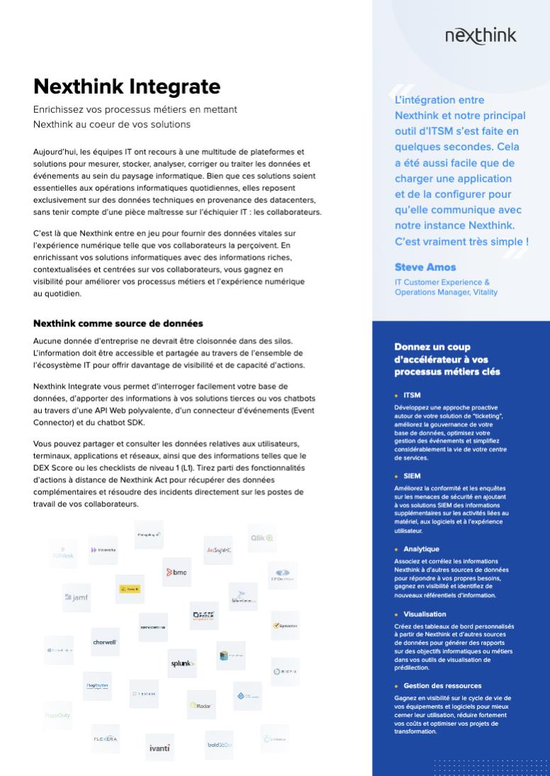 Nexthink Integrate - Fiche Solution