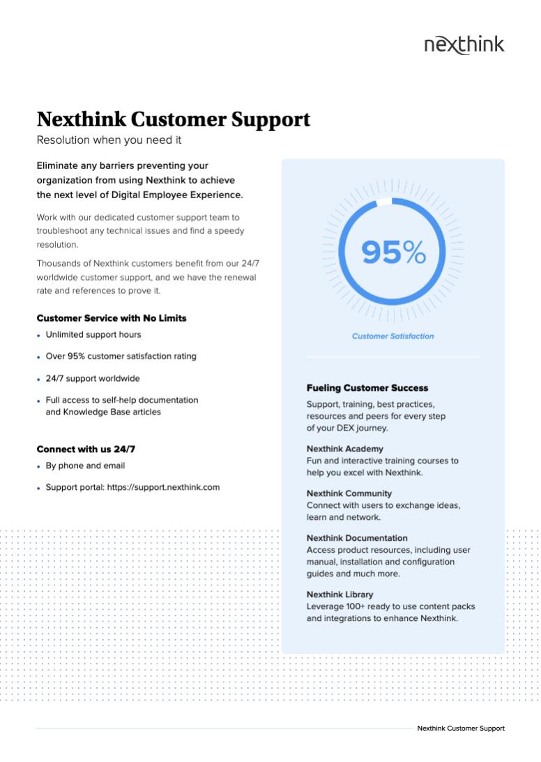Nexthink Customer Support