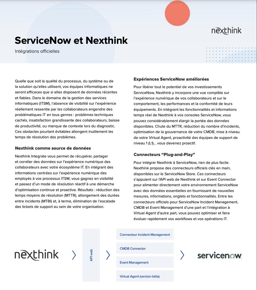 Intégration Nexthink et ServiceNow - Fiche Solution