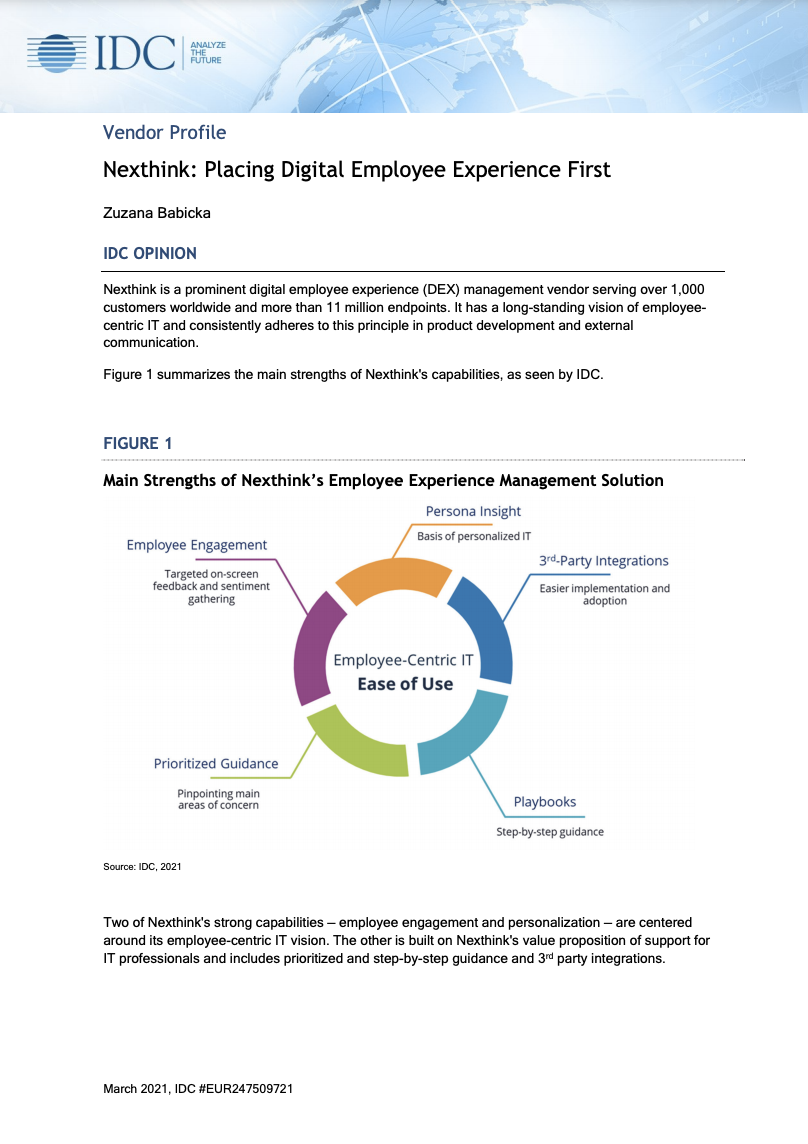 IDC Report: Placing Digital Employee Experience First with Nexthink