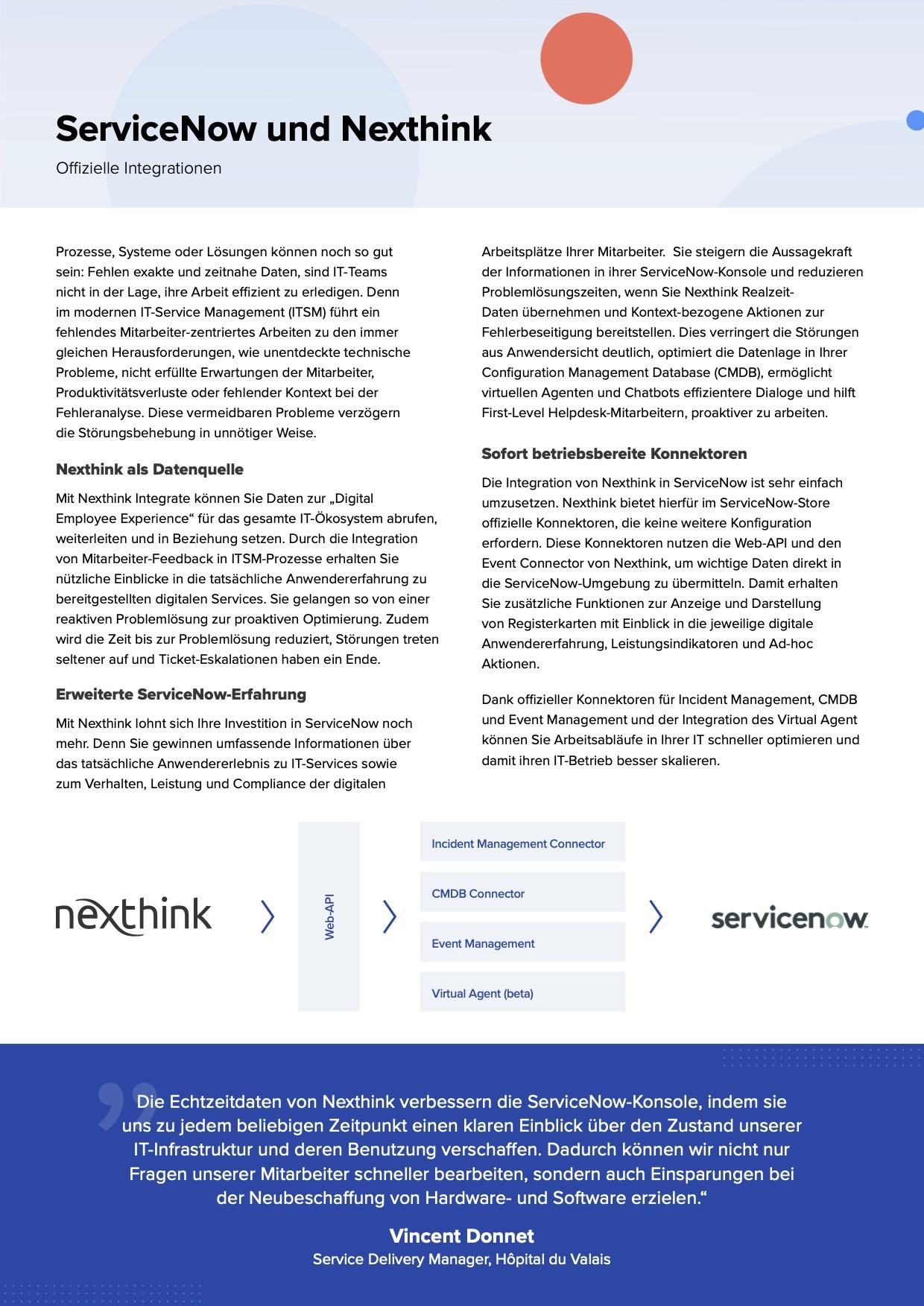 Nexthink und ServiceNow Integration Solution Brief