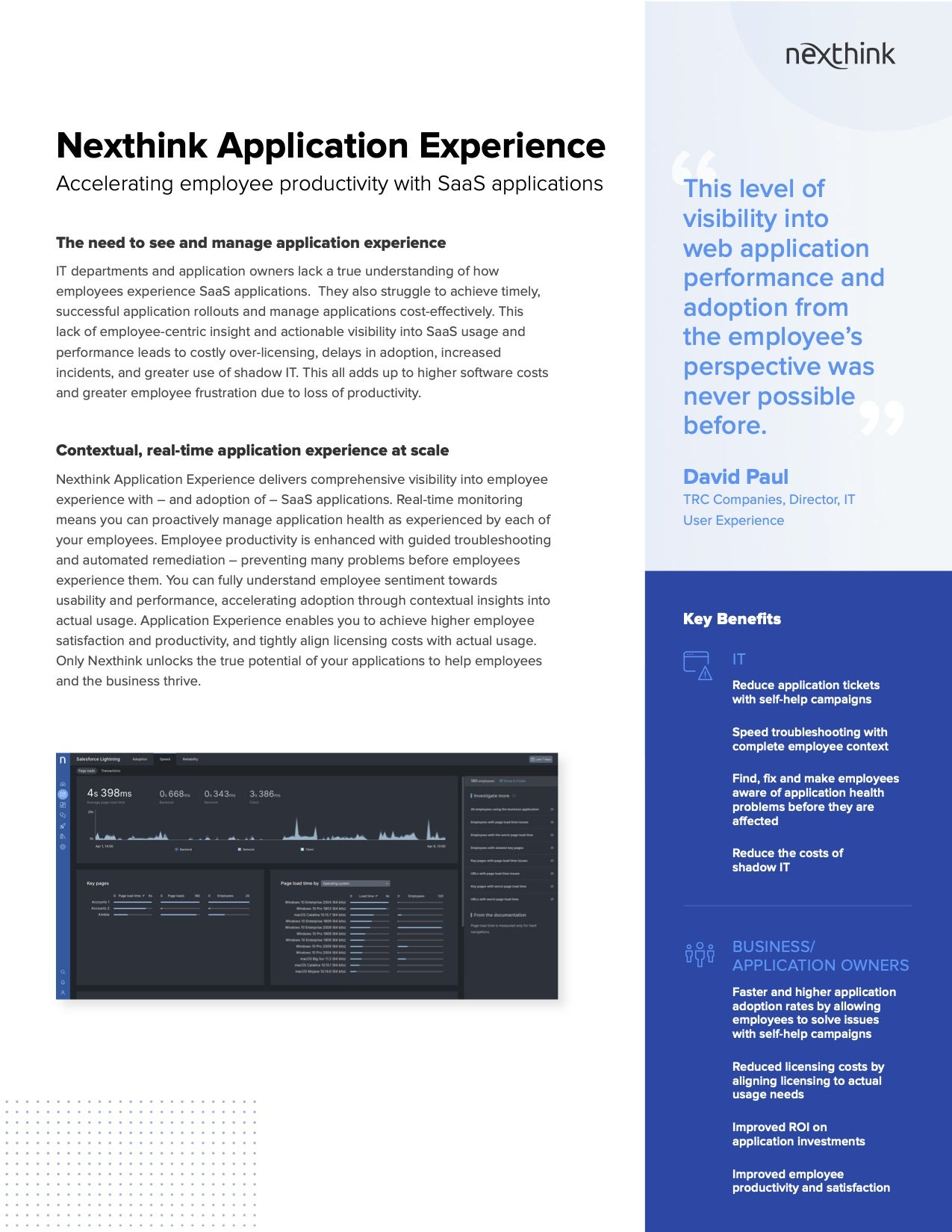 Nexthink Application Experience Solution Brief